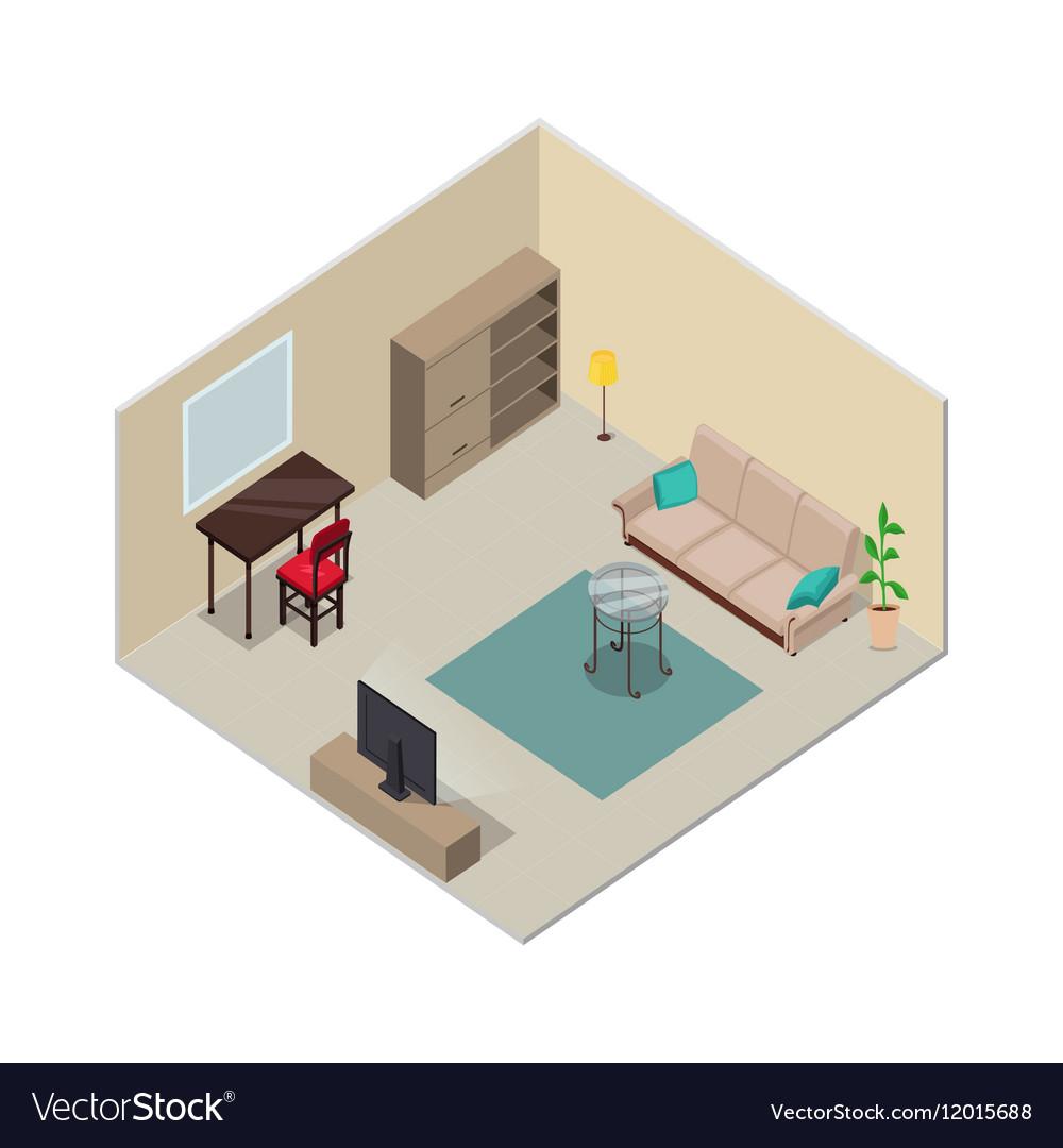 3d Floor Plan Isometric: Isometric Interior Design Living Room Furniture Vector Image