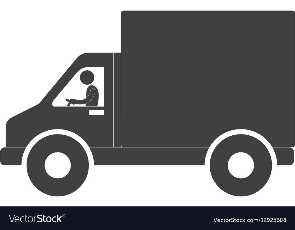 Man truck delivery transport figure pictogram vector image