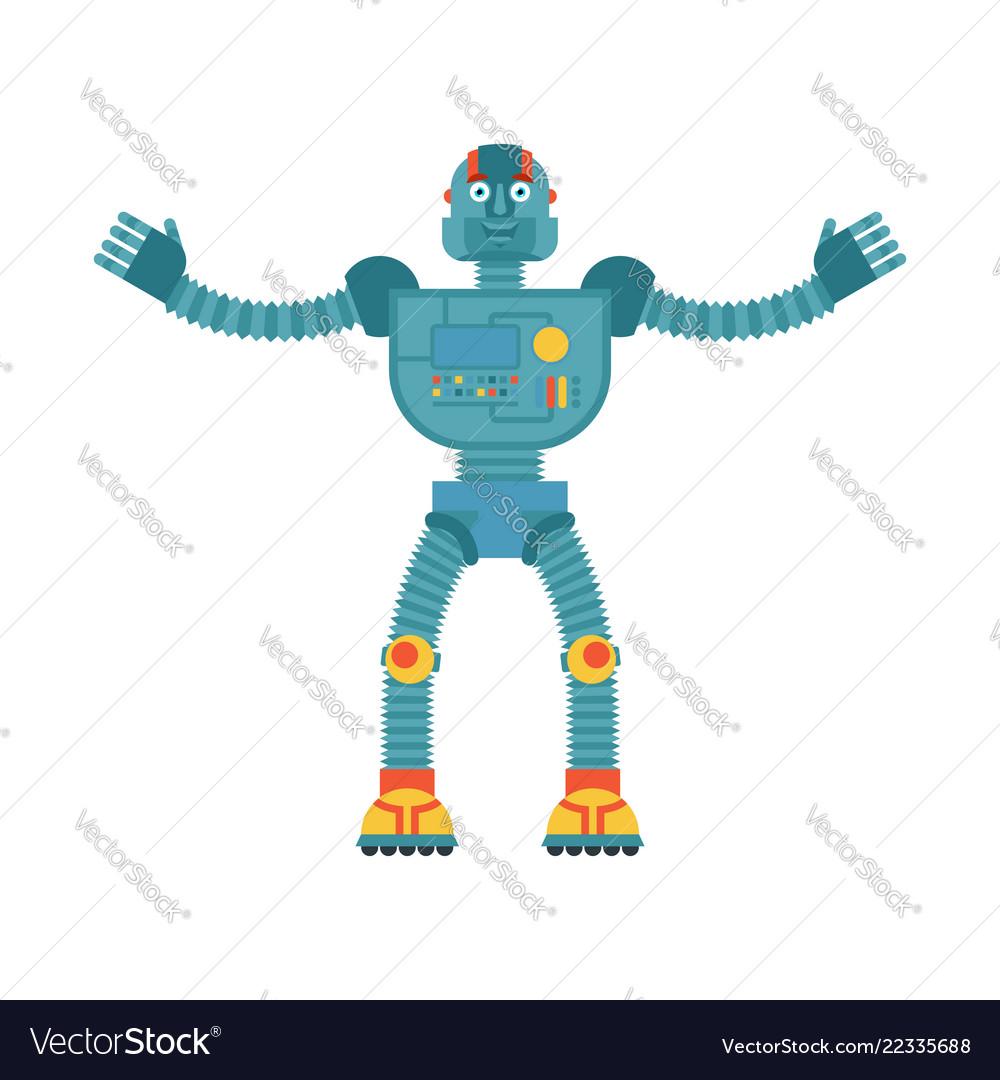 Robot happy cyborg merry emotions robotic man