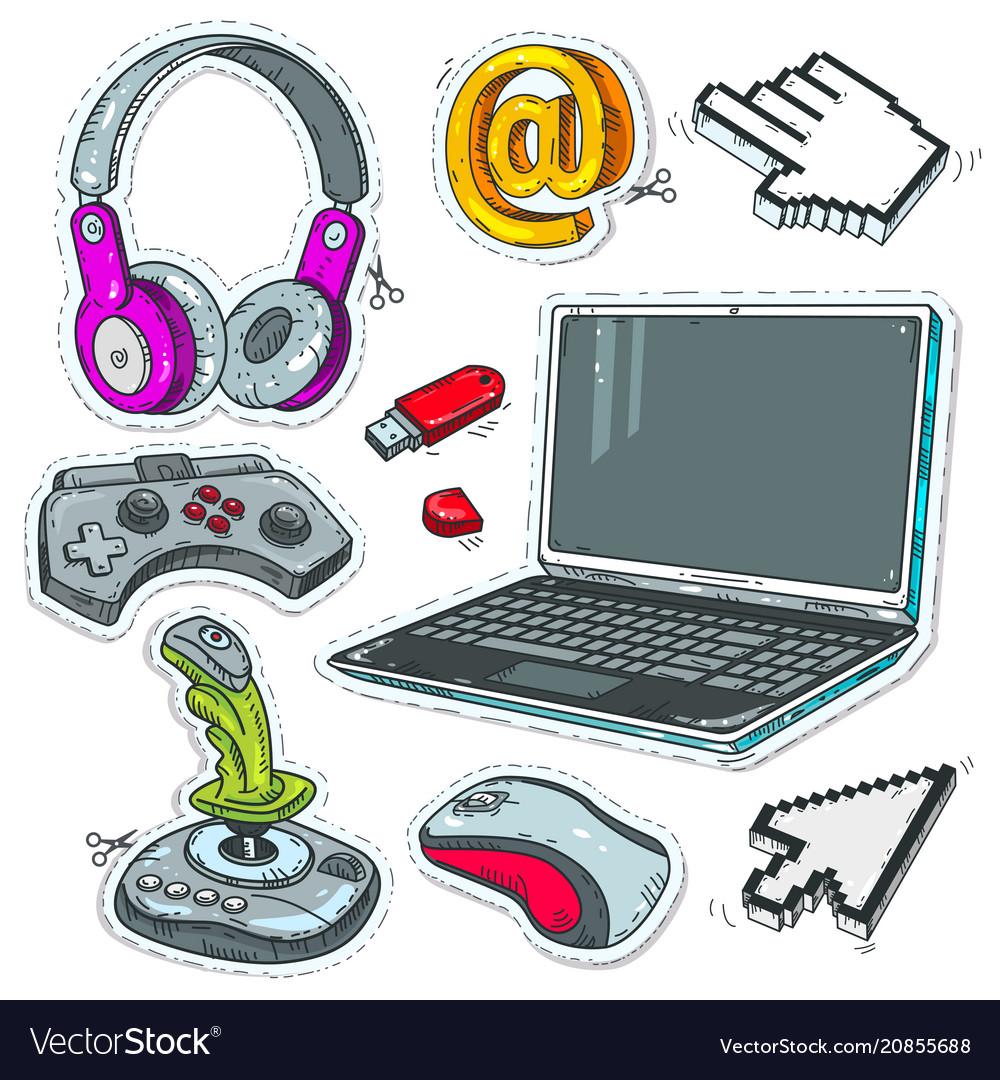 Set computer technology laptop game joysticks