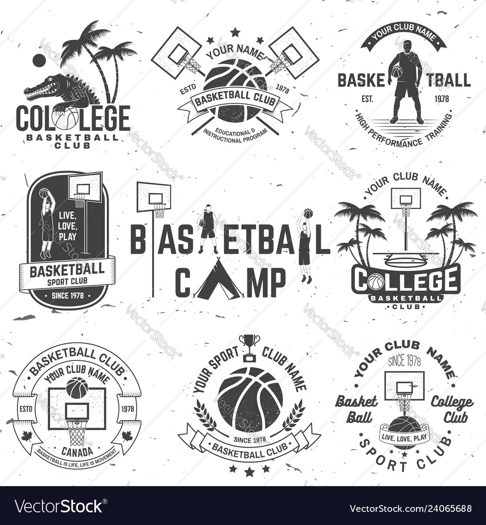 Set of basketball college club badge