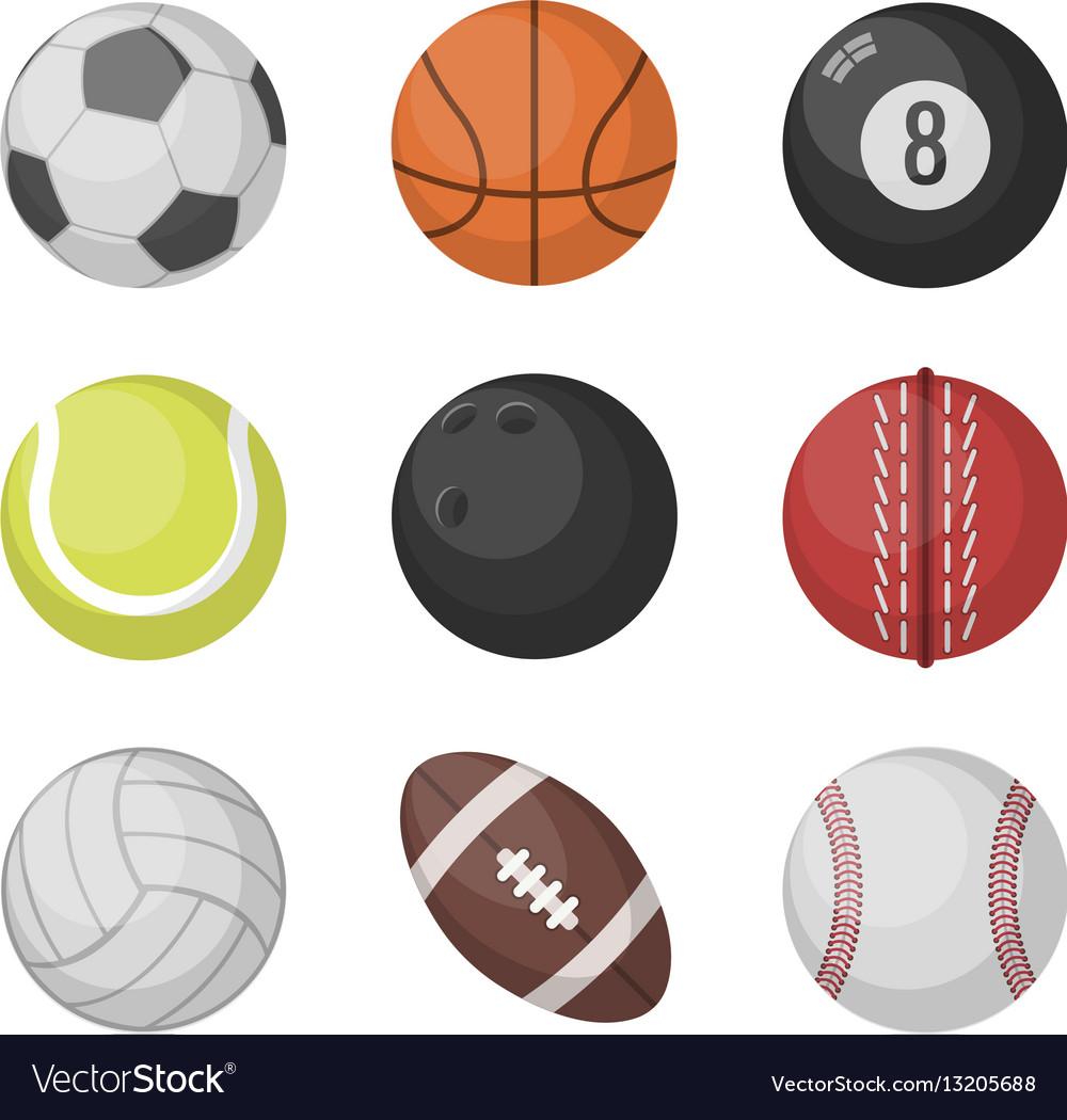 Sports balls set basketball soccer