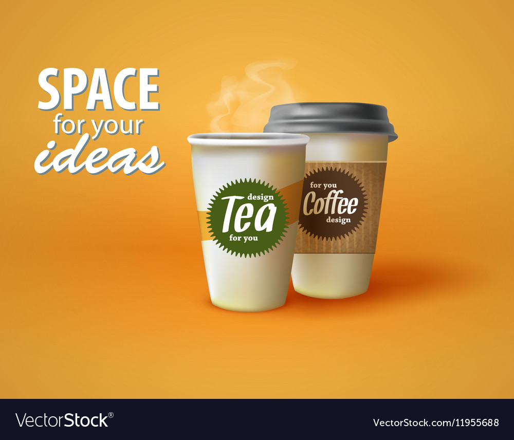 Two cups of hot coffee and tea on a yellow