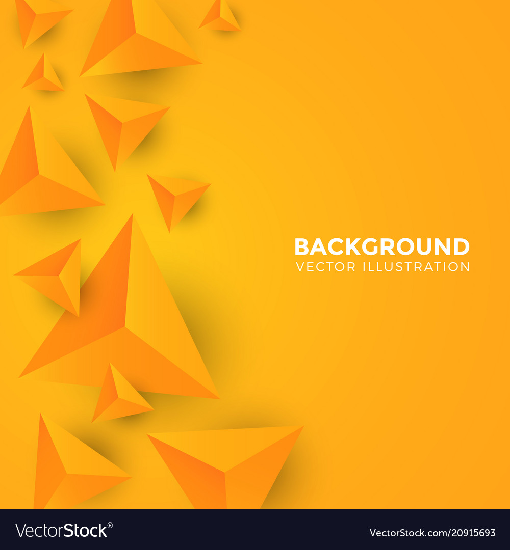 Abstract shiny yellow triangle background 3d