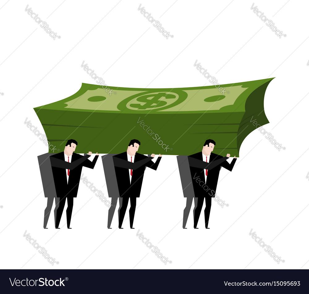 Businessman carrying pile money business man