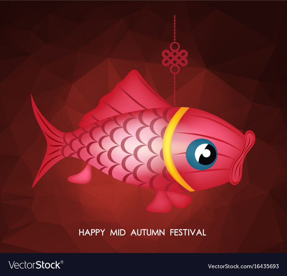 Chinese mid autumn festival polygonal background vector image