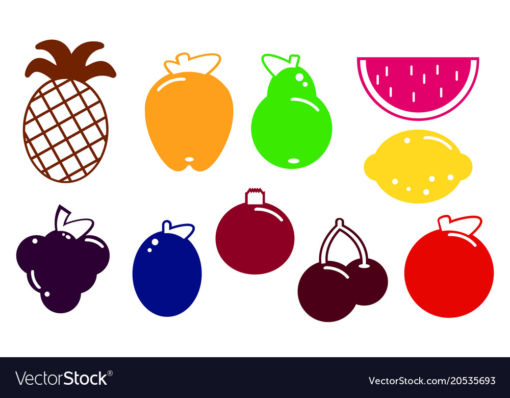 Flat design fruits and berries icon set