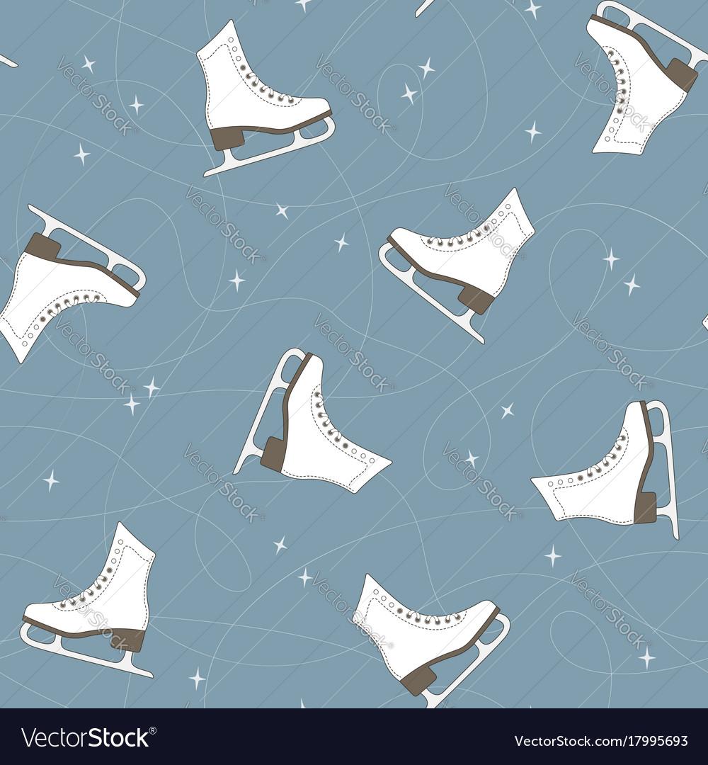 Ice skates seamless background vector image
