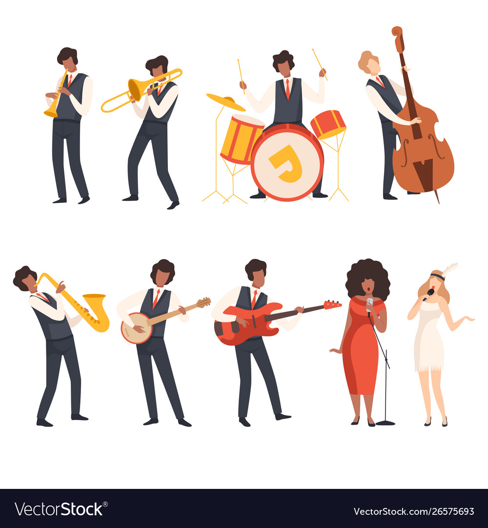 Jazz band group musicians singing and playing