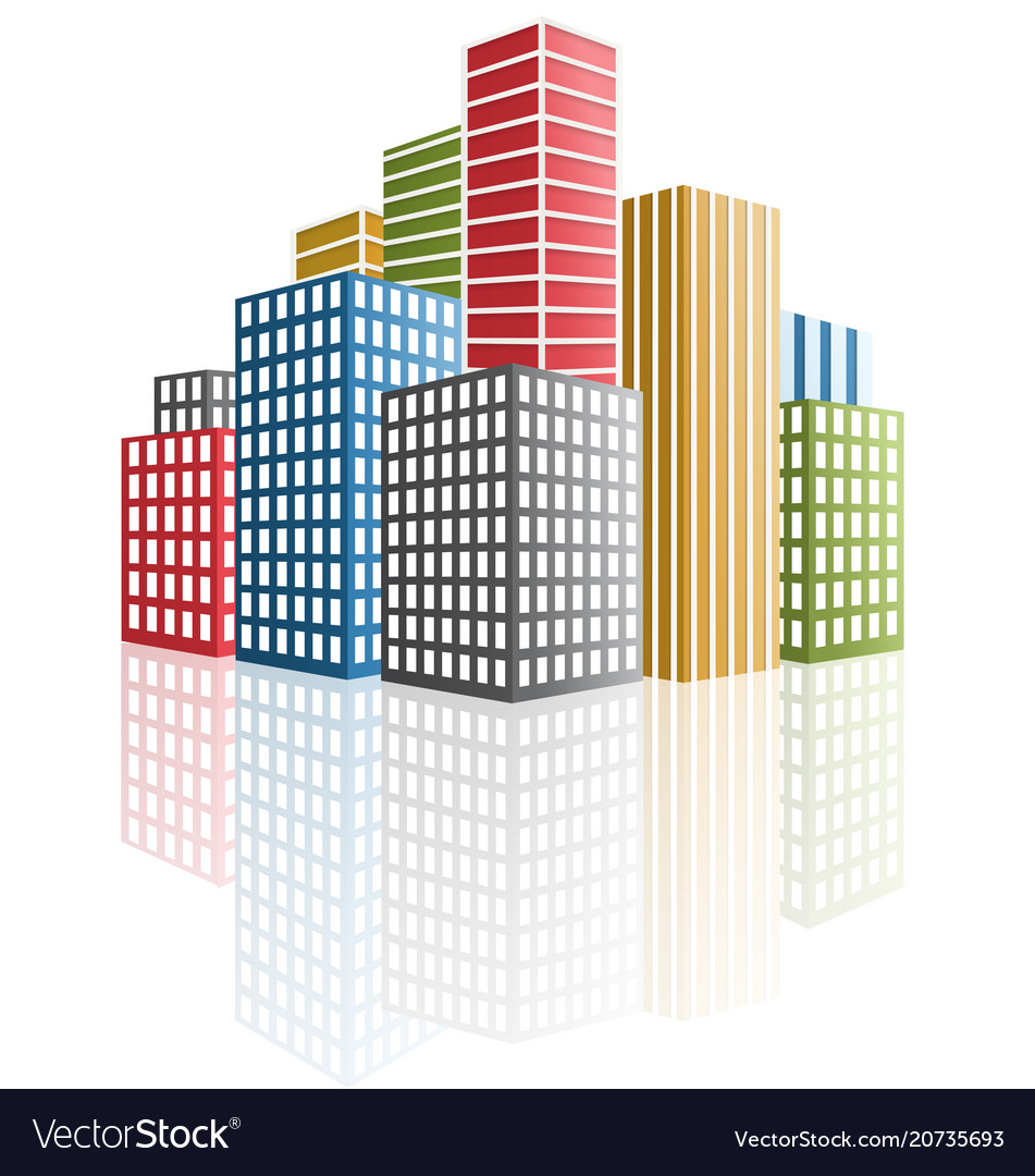 Panorama of the city skyscrapers vector image