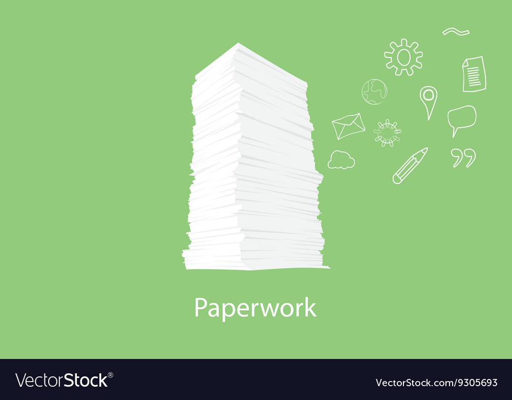 Paper work document with icon flying on the right