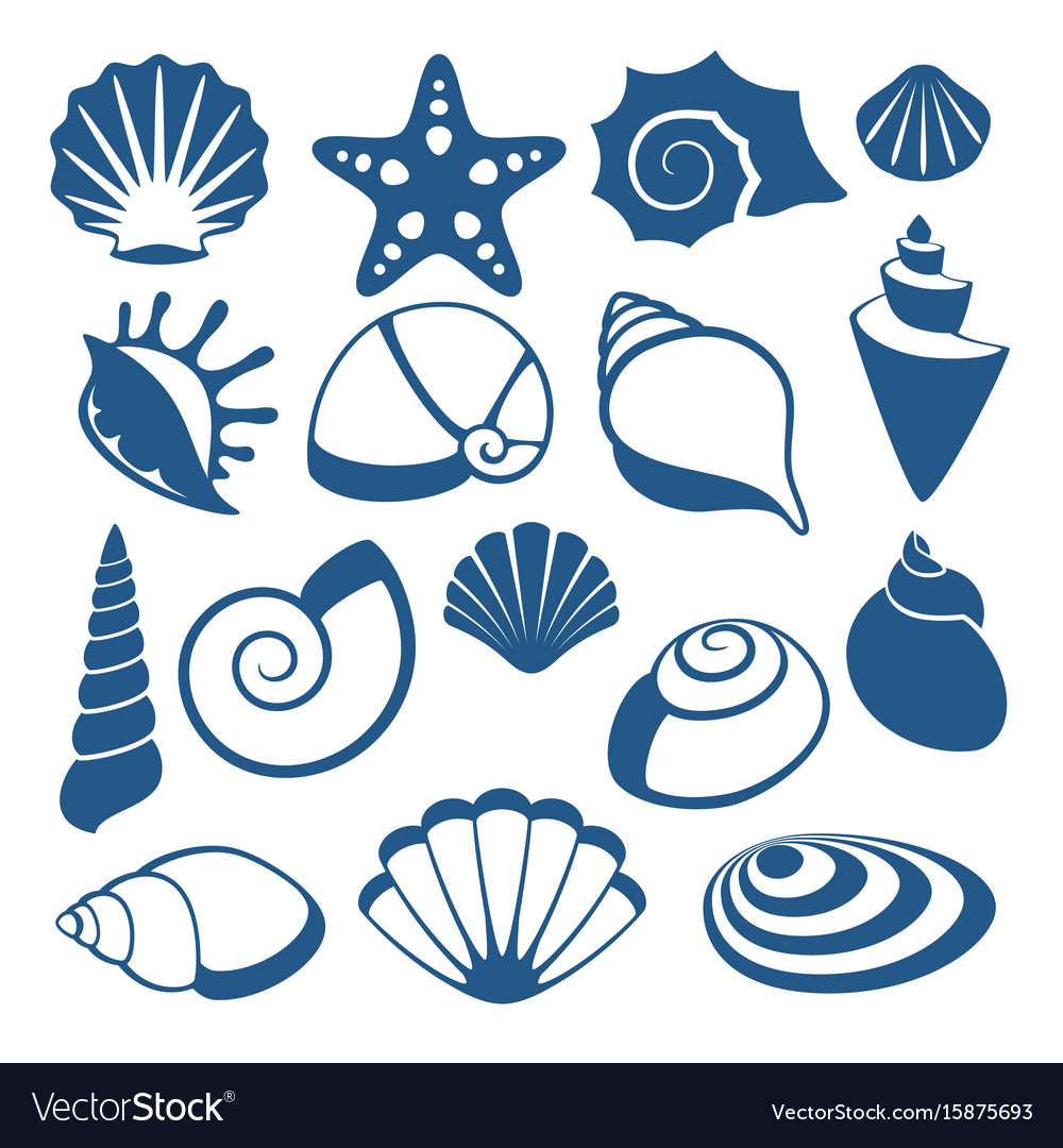 Sea shell silhouette icons vector image