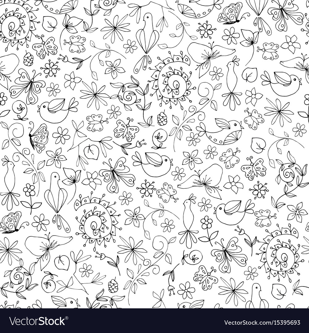 Sketch monochrome summer natural seamless pattern vector image