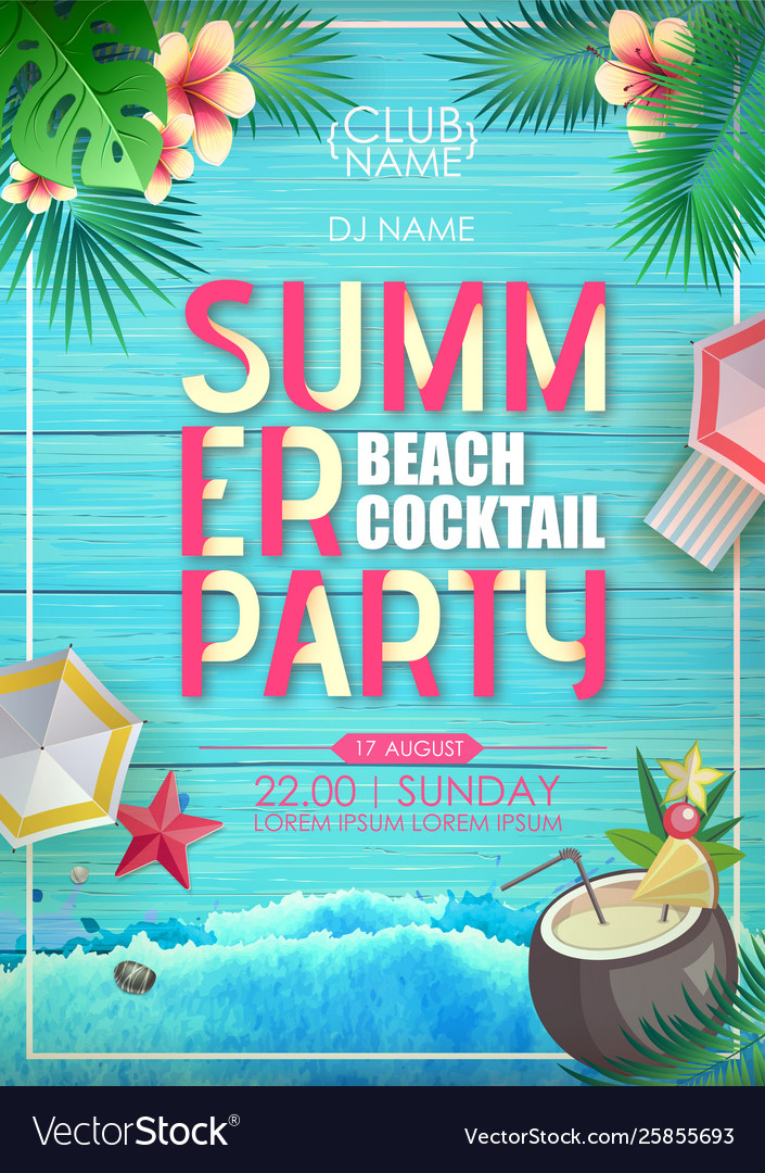 Typography summer beach cocktail party poster