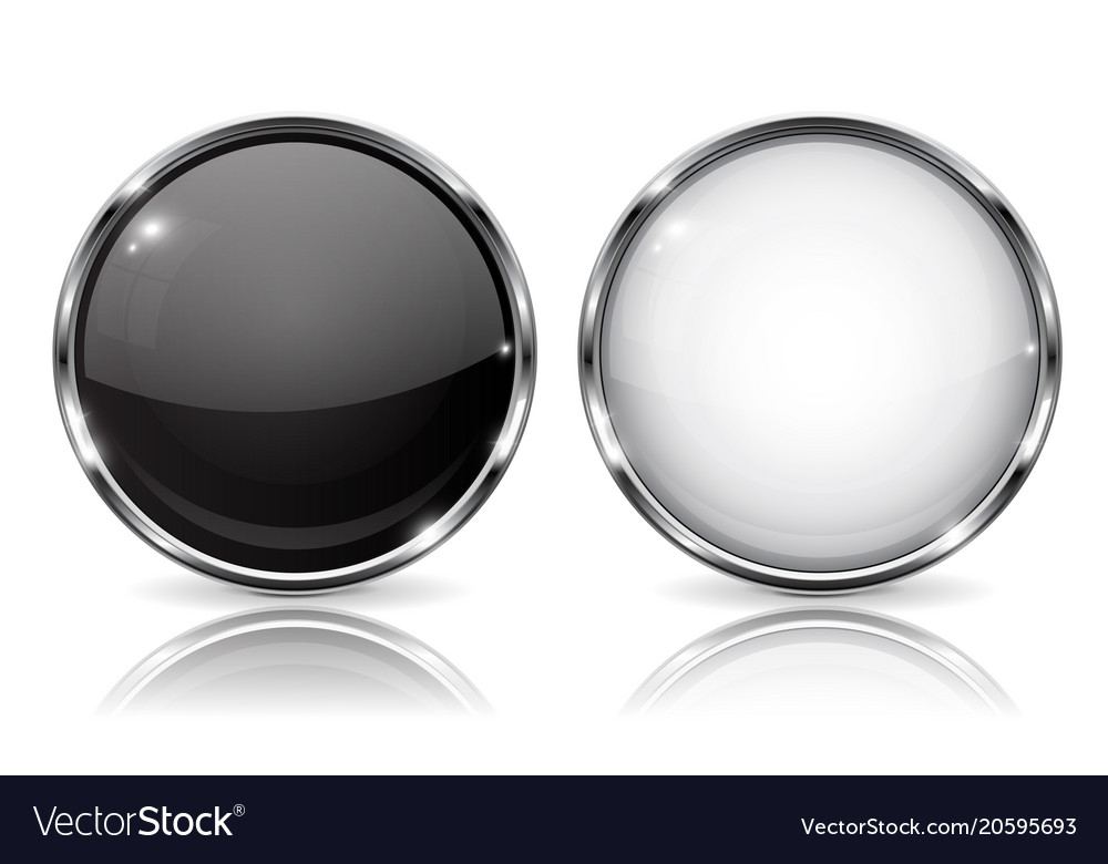 White and black buttons with chrome frame round