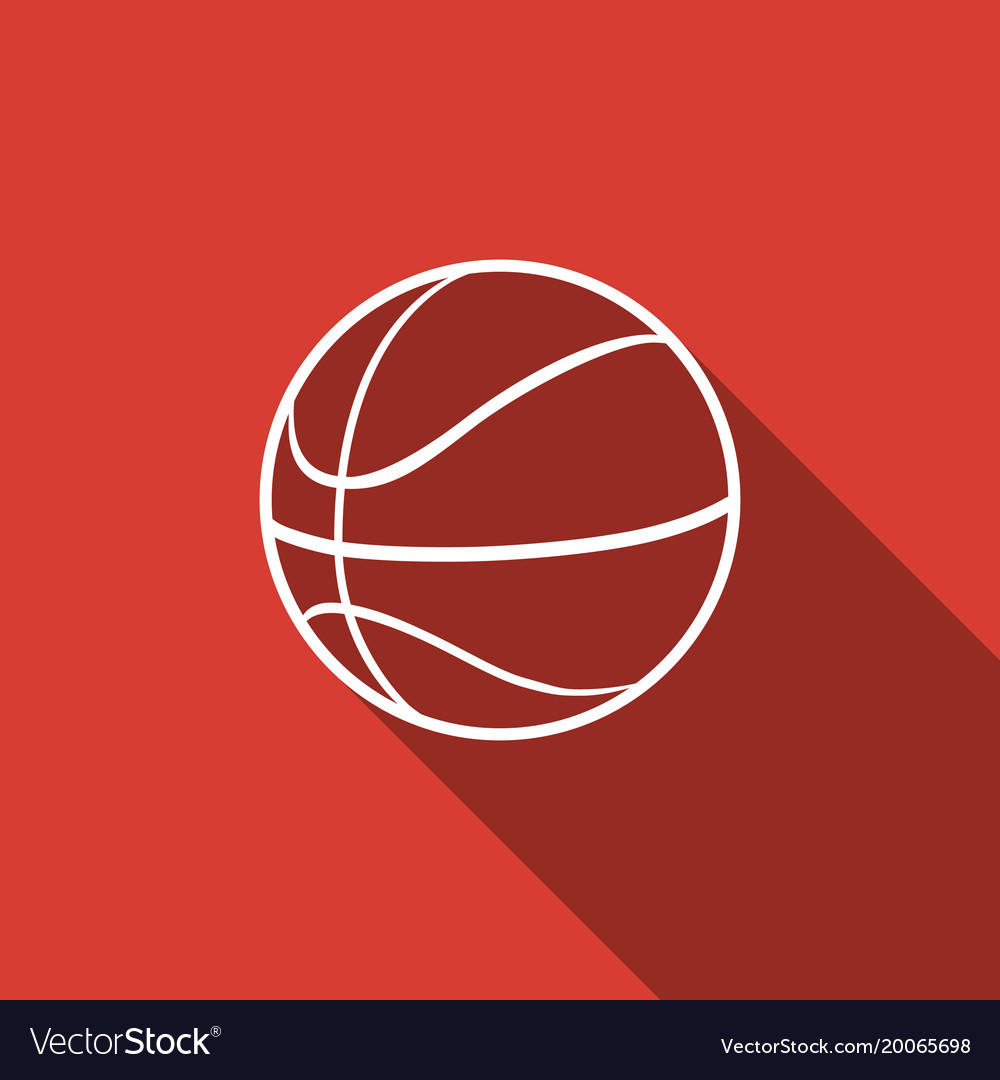 Basketball ball icon isolated with long shadow