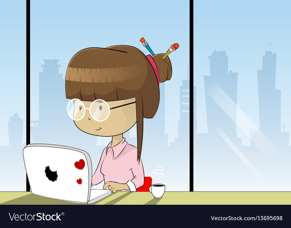 Business woman at work place vector image