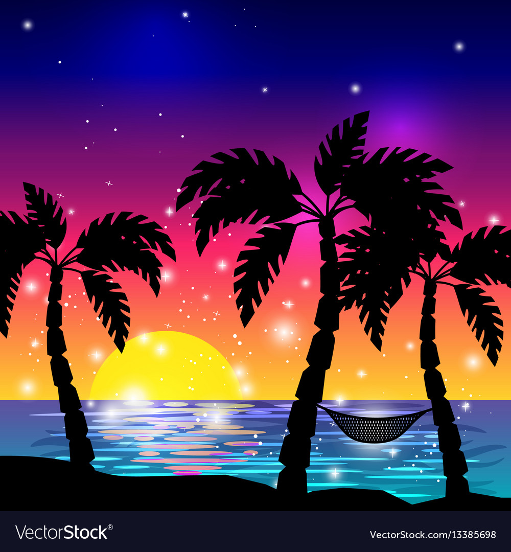 Caribbean sea view with palm trees