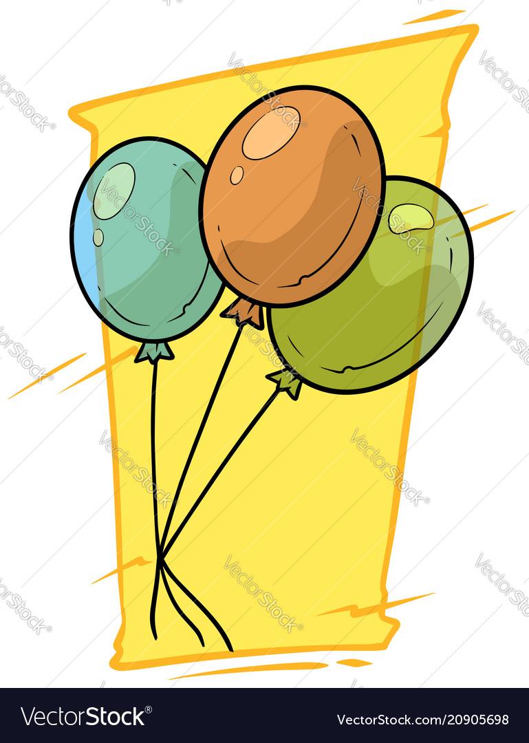 Cartoon colored air balloons icon