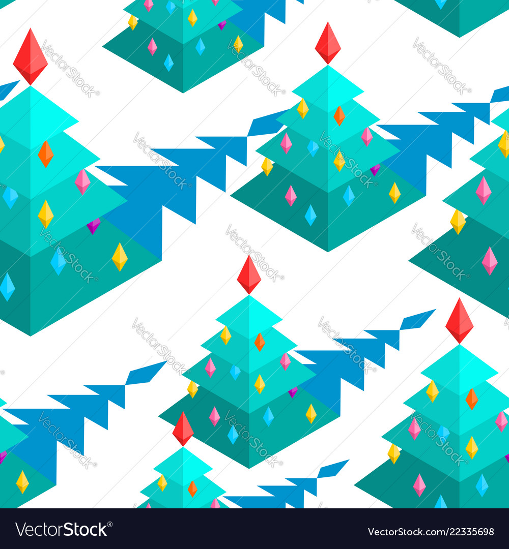 Christmas tree isometric style pattern christmas