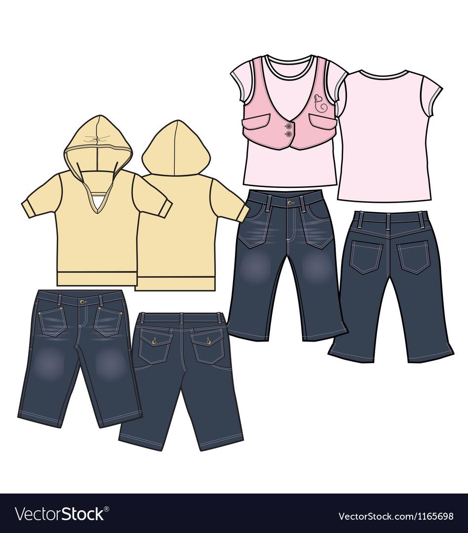 Girls fashion casual wear set vector image
