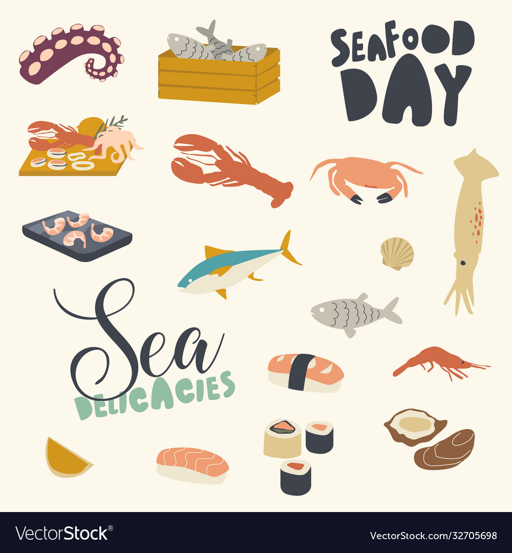 Icons set seafood themed background with asian or