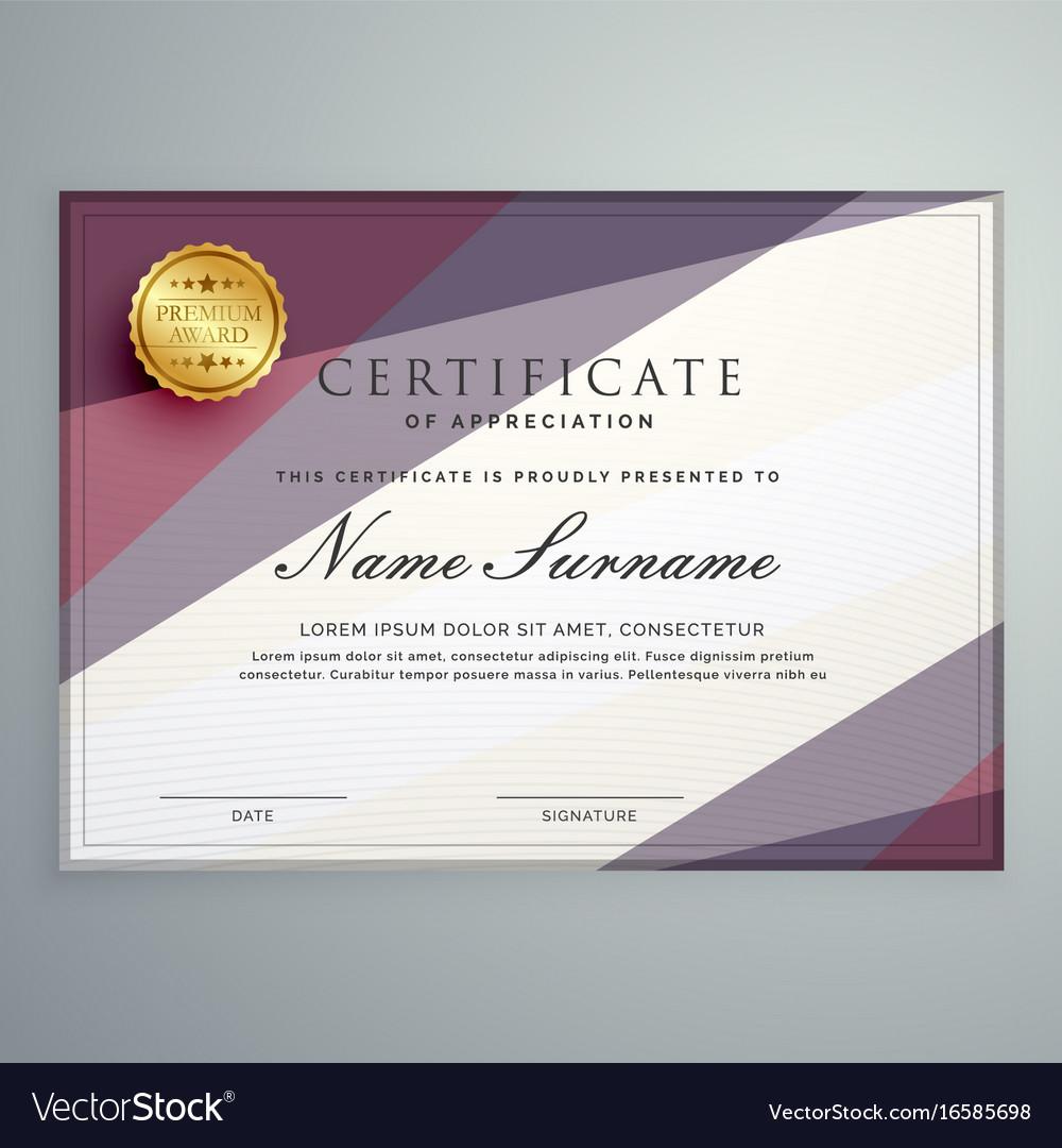 Modern Certificate Template Design With Purple Vector Image On Vectorstock