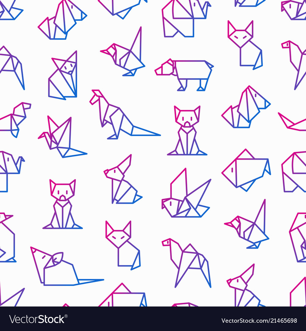 Origami seamless pattern with thin line icons