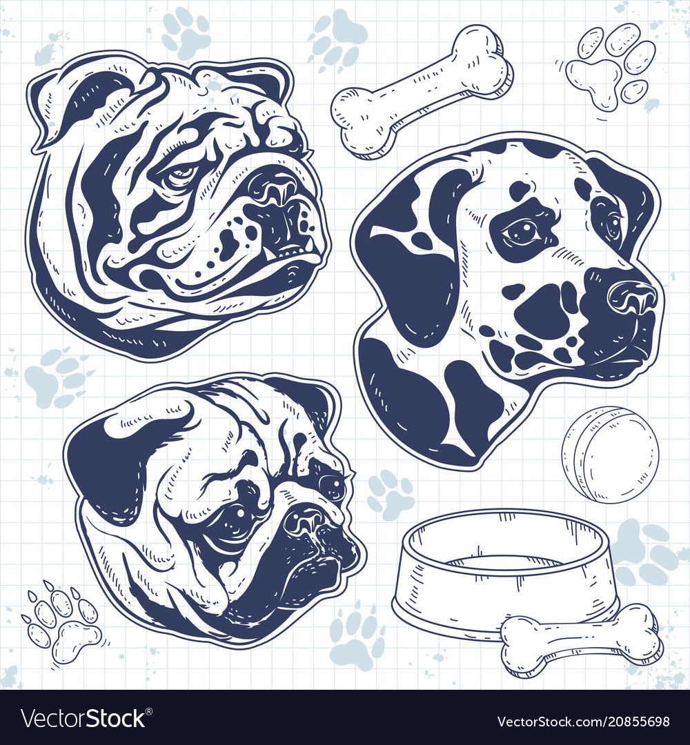 Set decorative breed dog painted silhouette dog