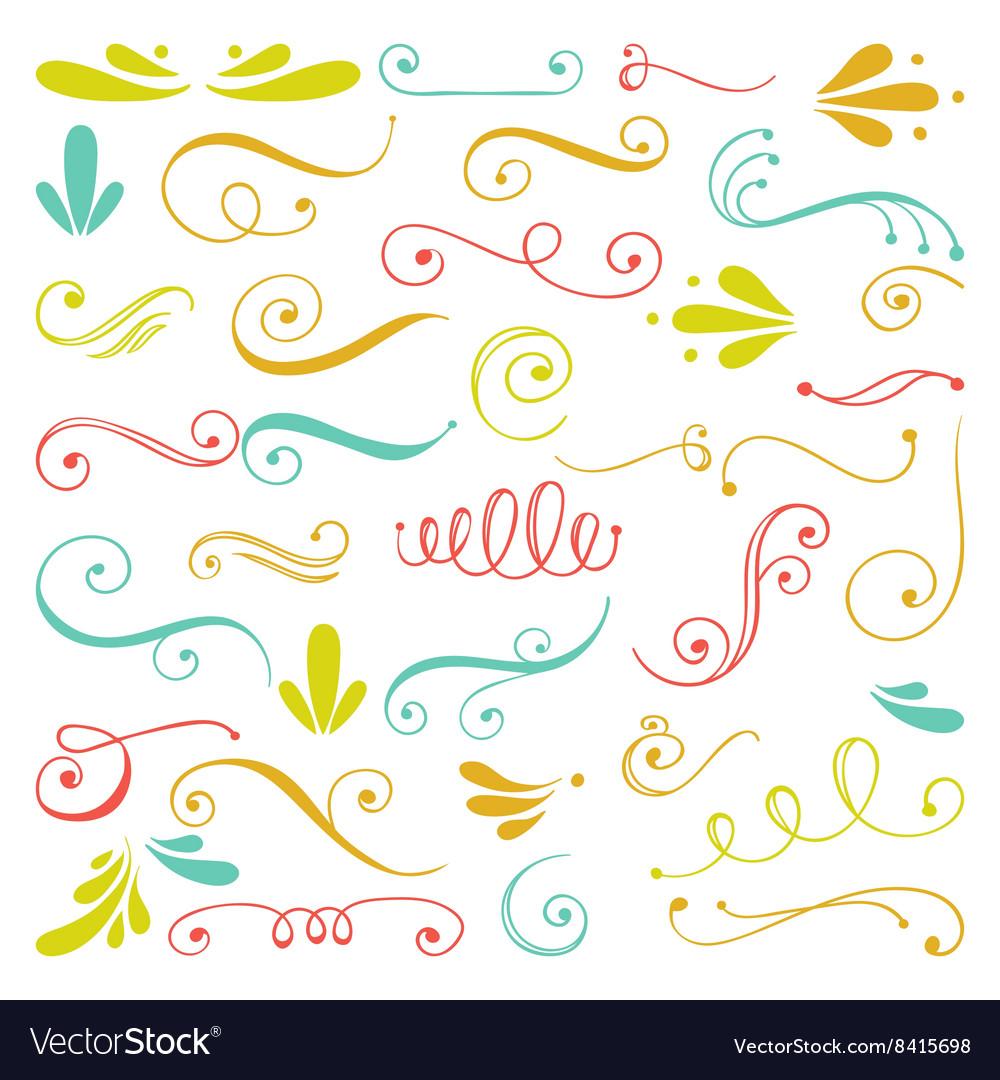Set of hand drawn swirls
