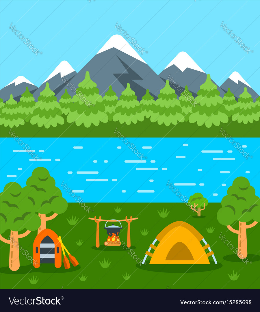 Summer camping tourism flat background