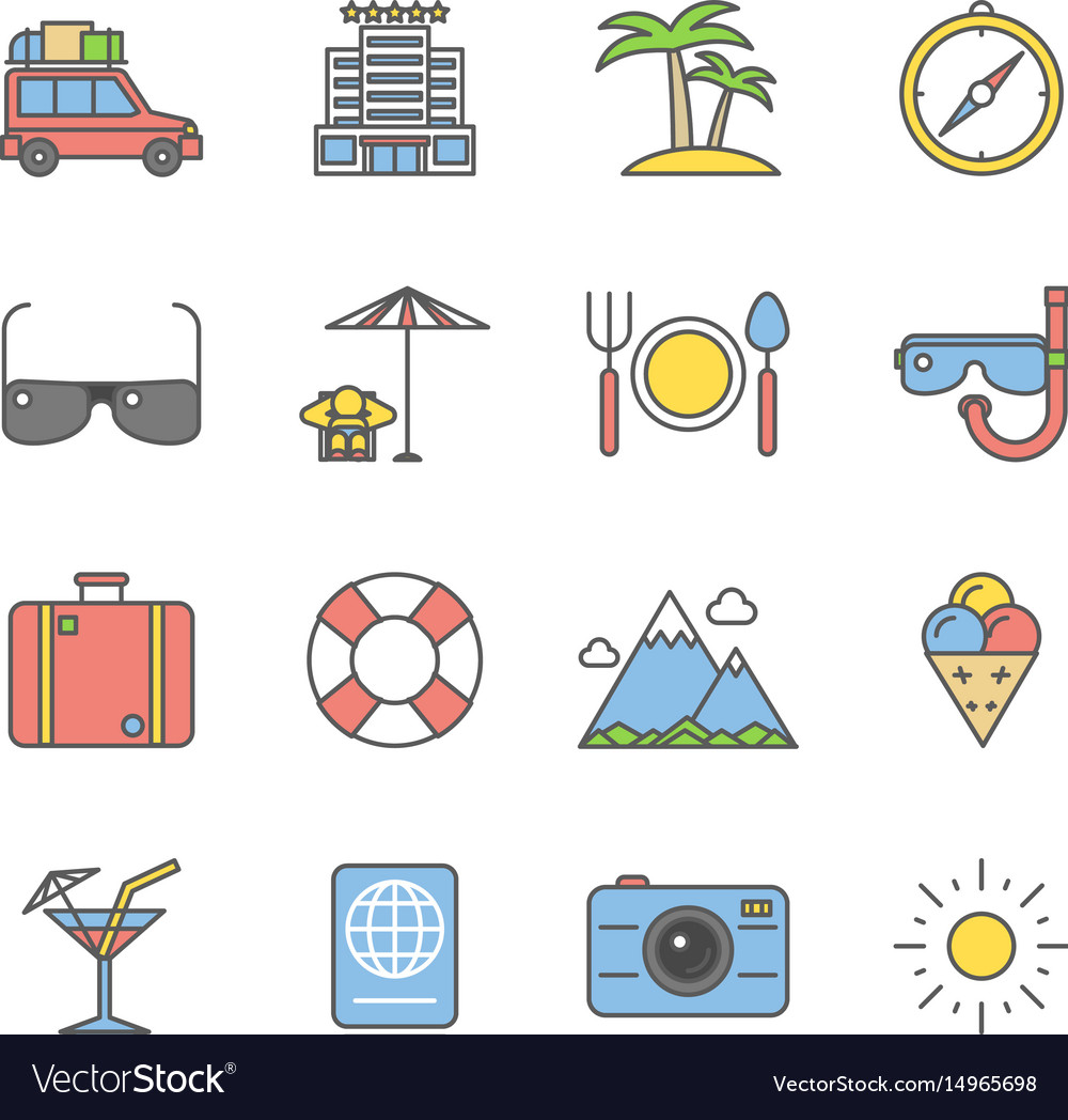 Summer travel linear and beach vacation line icons