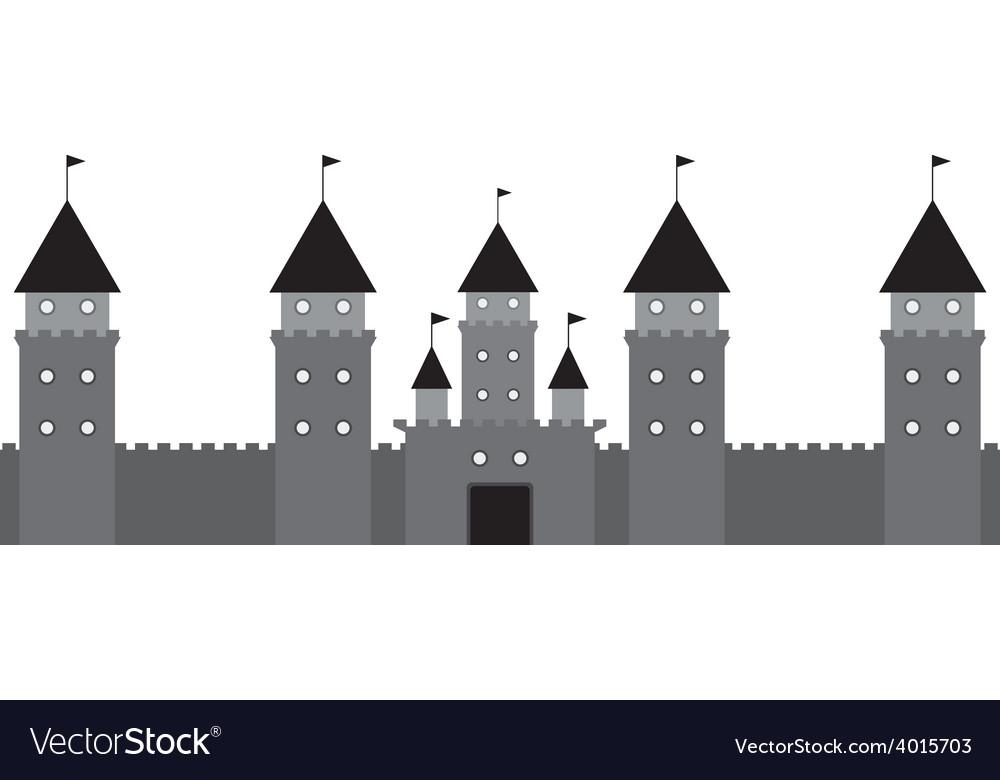 Black castle on white background
