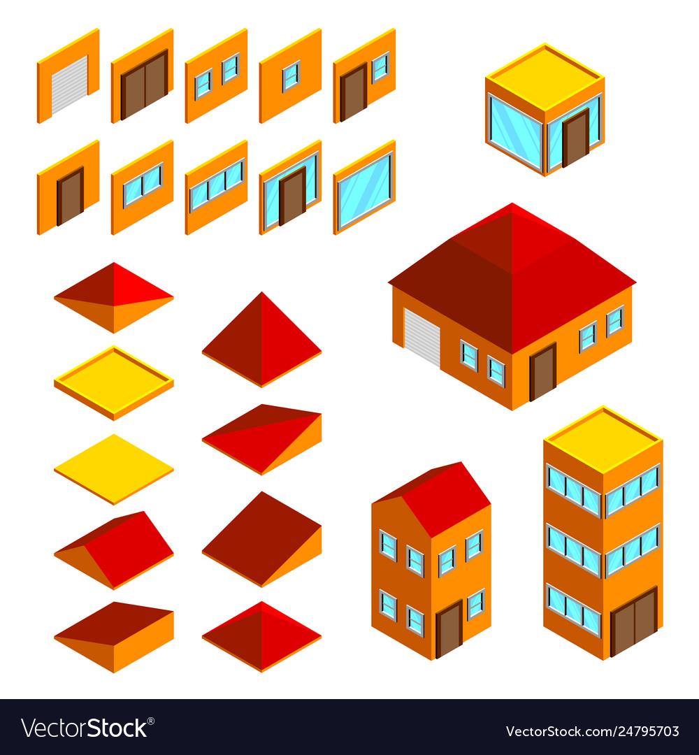 Building elements isometric houses icons set