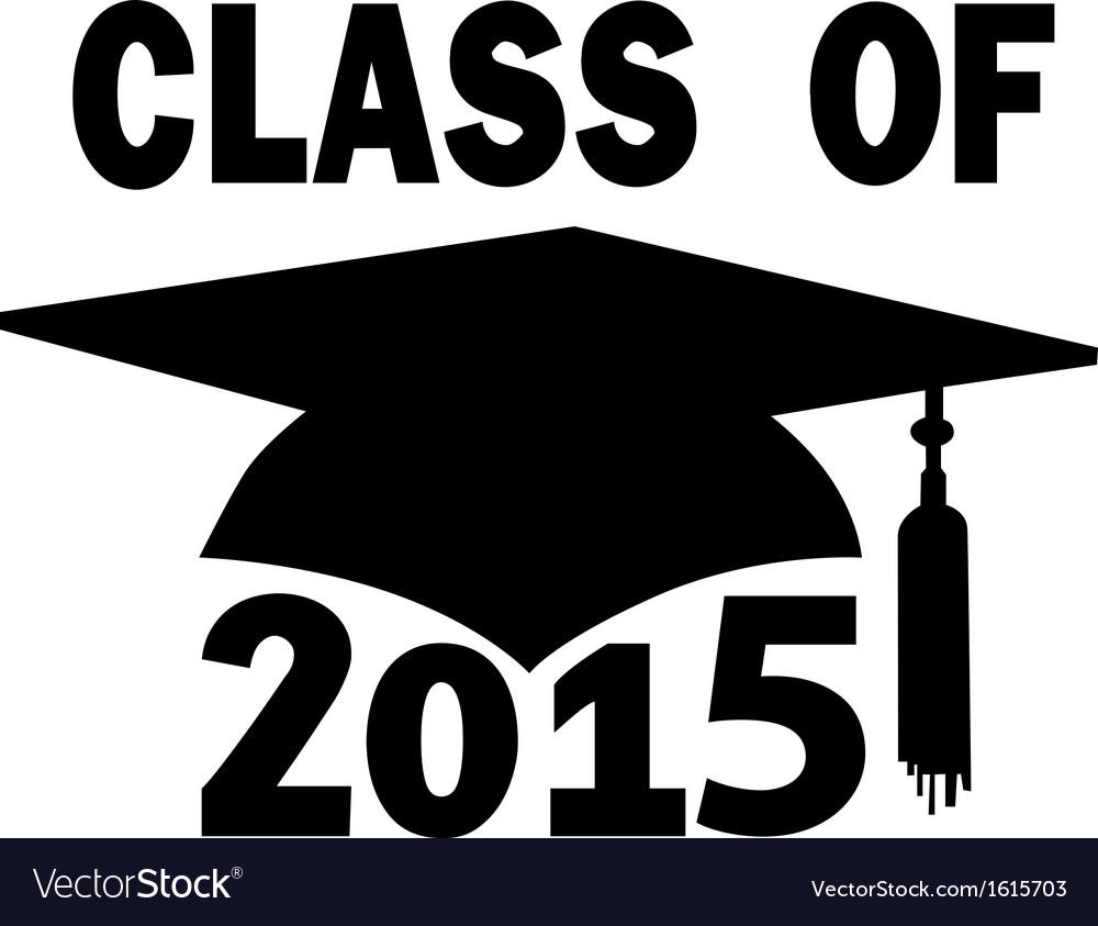 Class of 2015 School Mortar Board Graduation Cap vector image