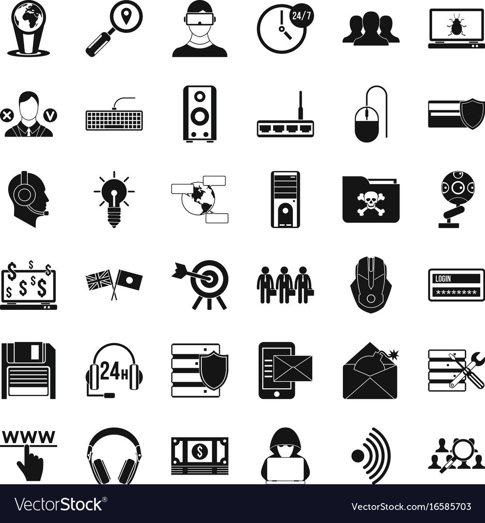 Cyber shield icons set simple style vector image