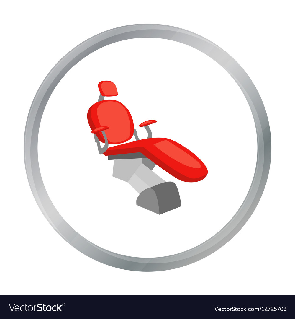 Dental chair icon in cartoon style isolated on