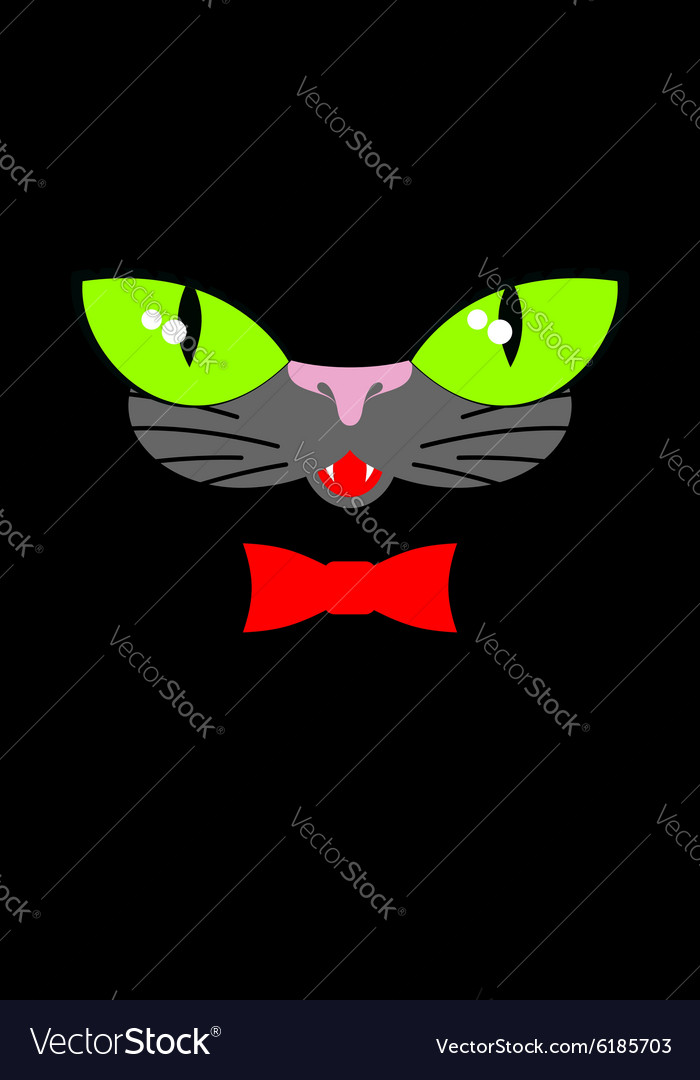 Green cat eyes and a red bow tie Muzzle your pet