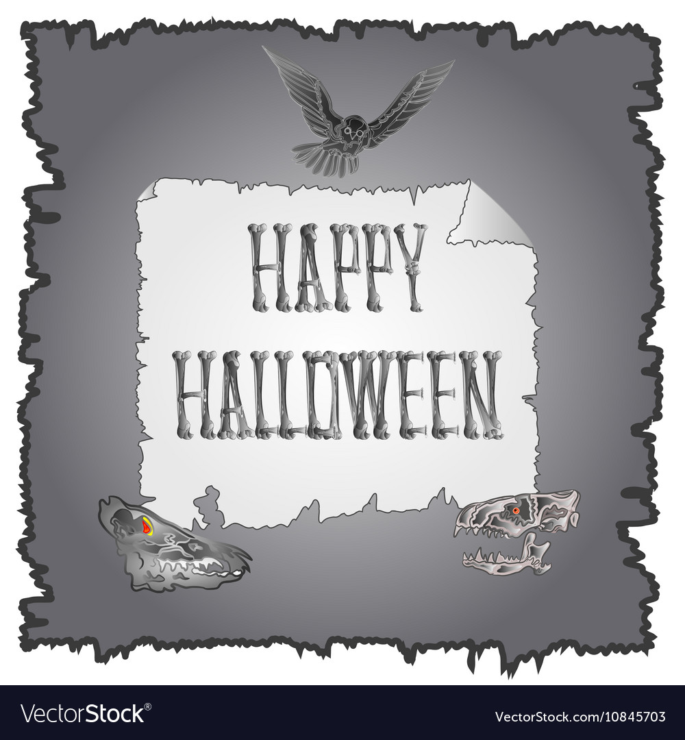 Happy Halloween inscription of bones and skulls