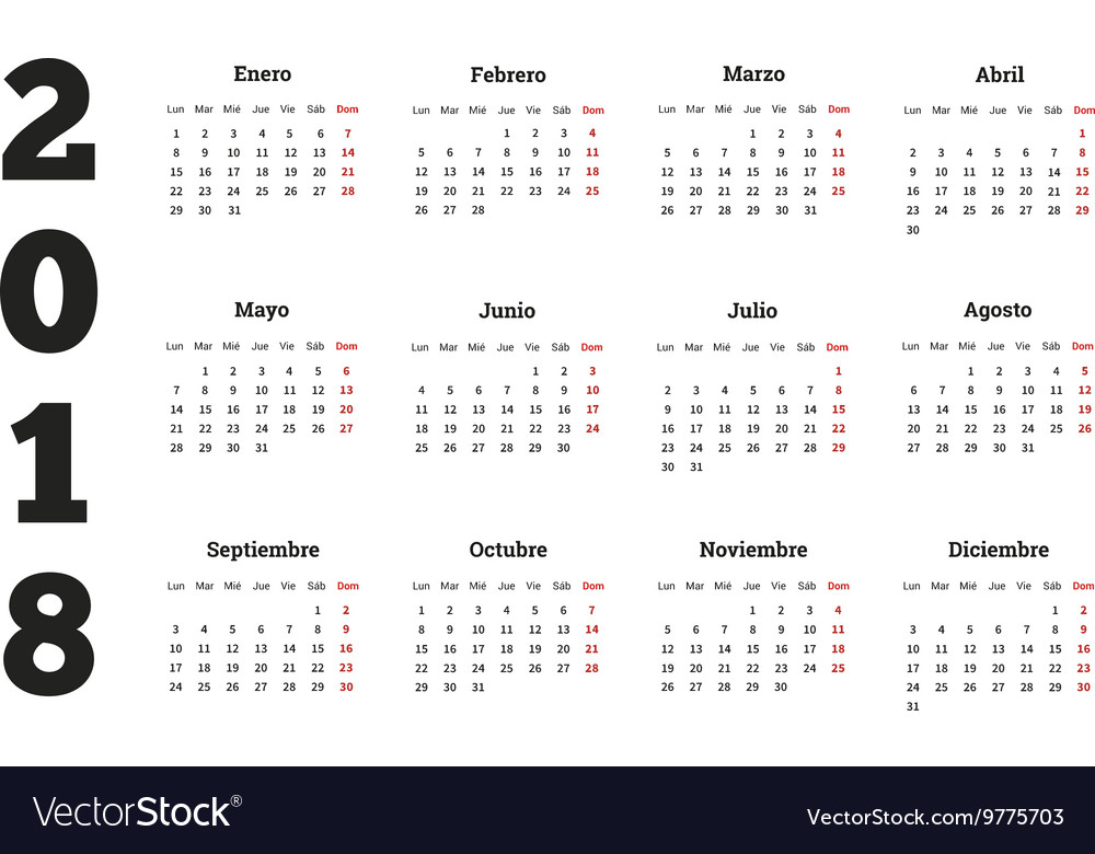 Simple calendar on 2018 year in spanish language