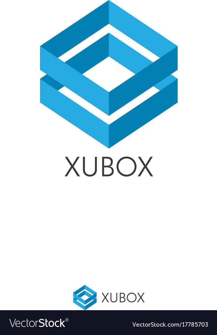 Simple dual blue box logo concept double shape vector image