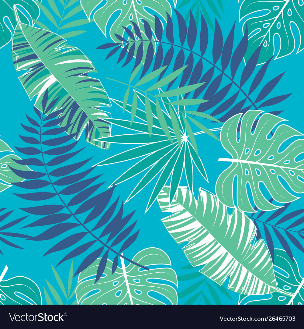 Tropical summer pattern with light blue background