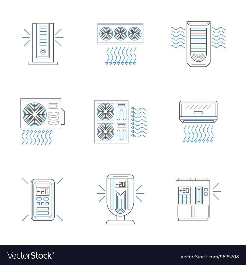 Air climate appliances flat line icons set