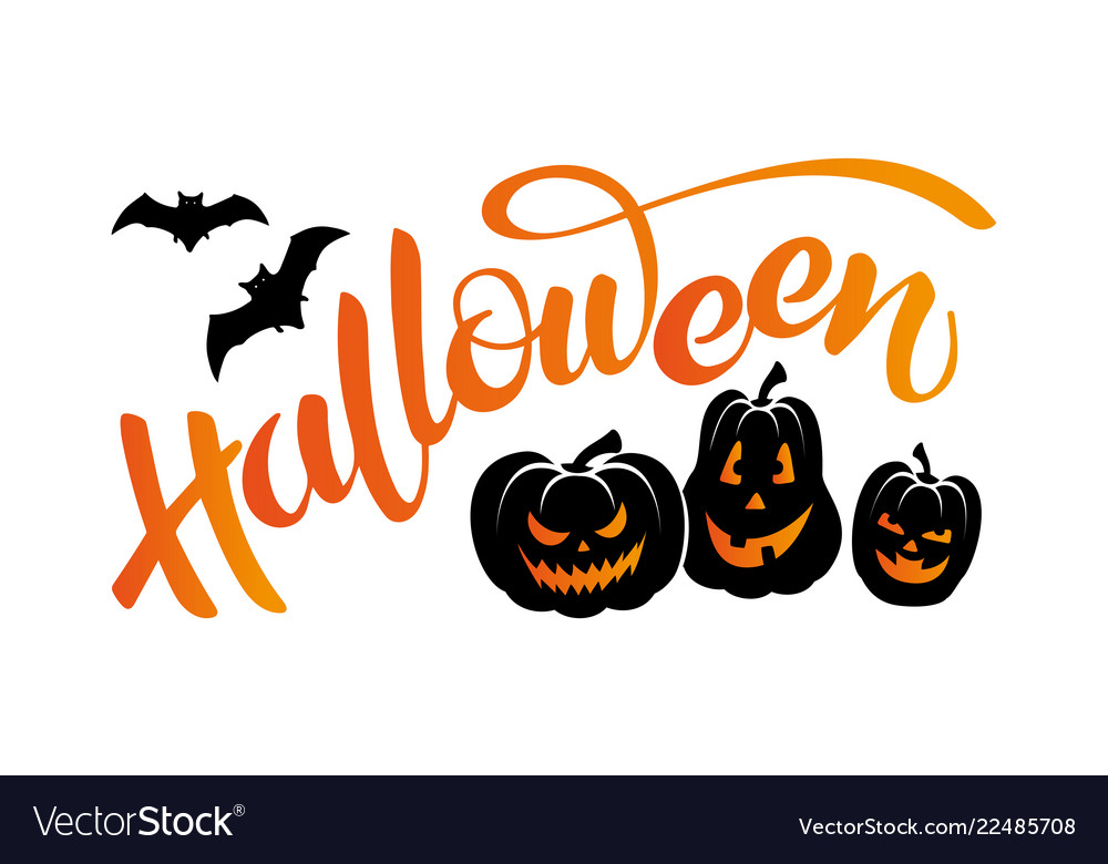 Banner with lettering halloween bats and pumpkins