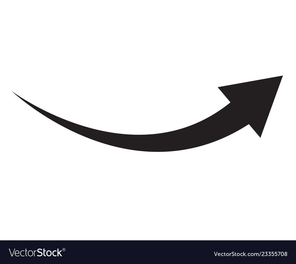 Black arrow icon on white background flat style