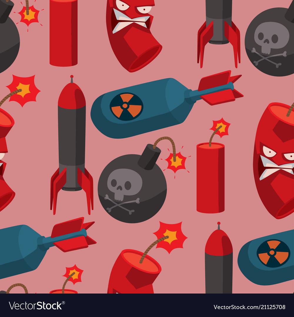 Bomb dynamite fuse seamless pattern