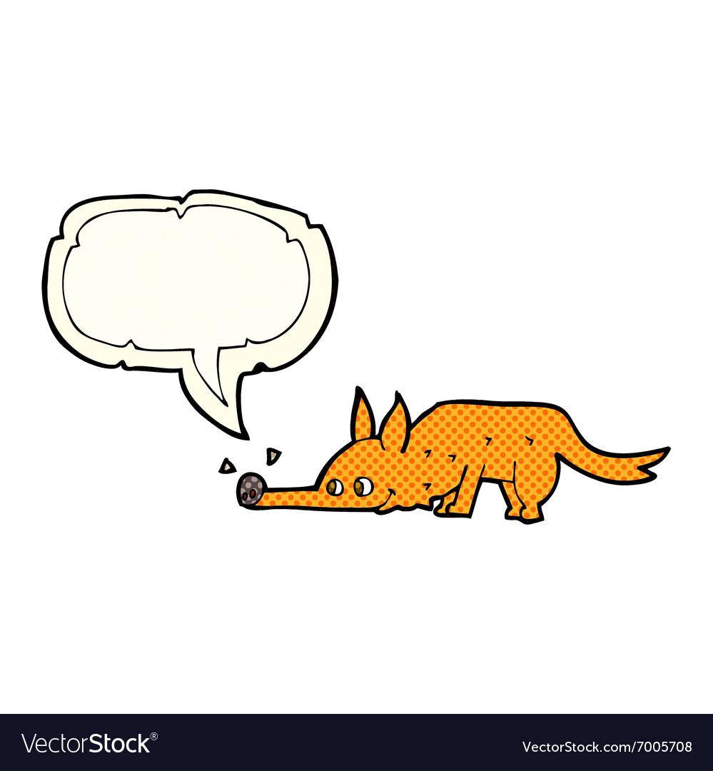 Cartoon fox sniffing floor with speech bubble vector image