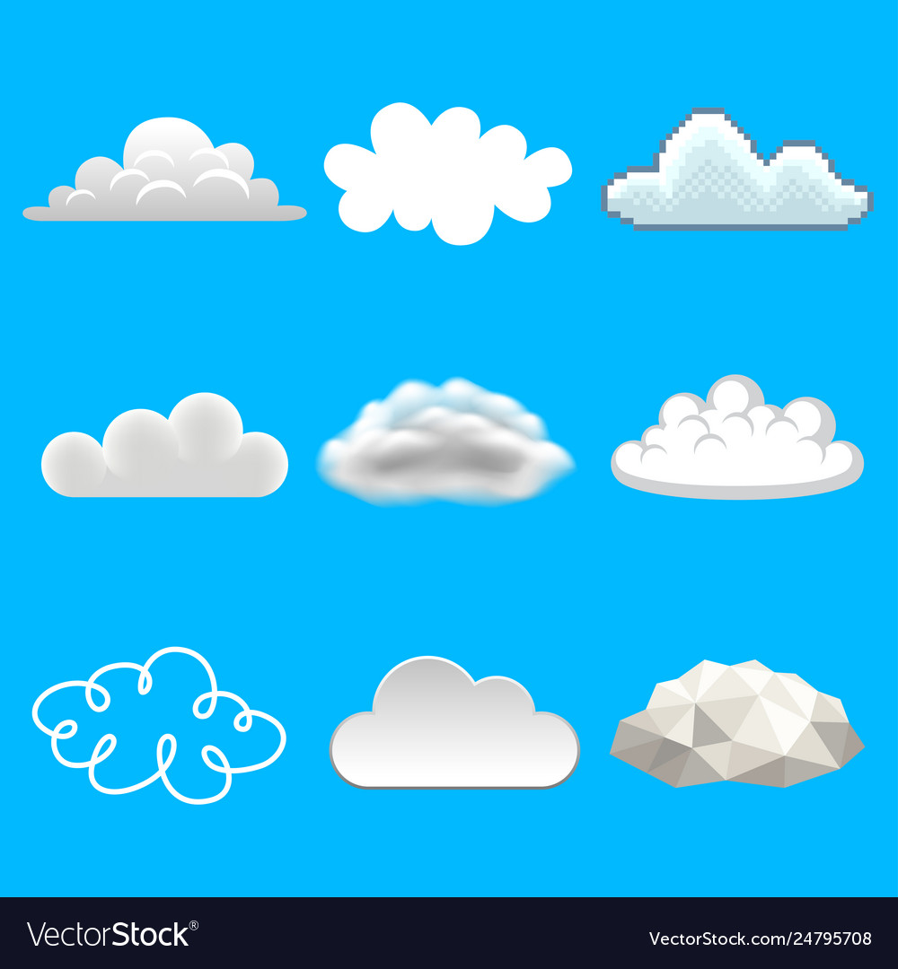 Clouds in different styles icons photo realistic