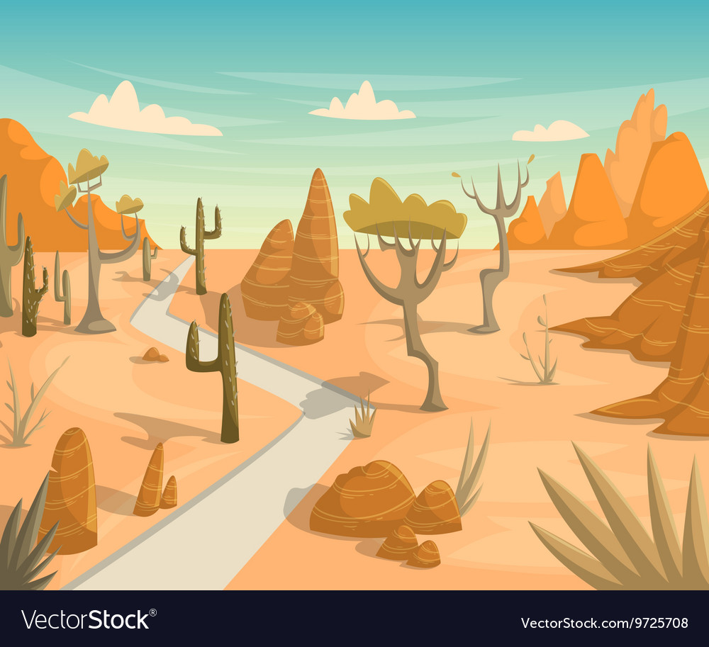 Desert landscape with road cactuses mountains