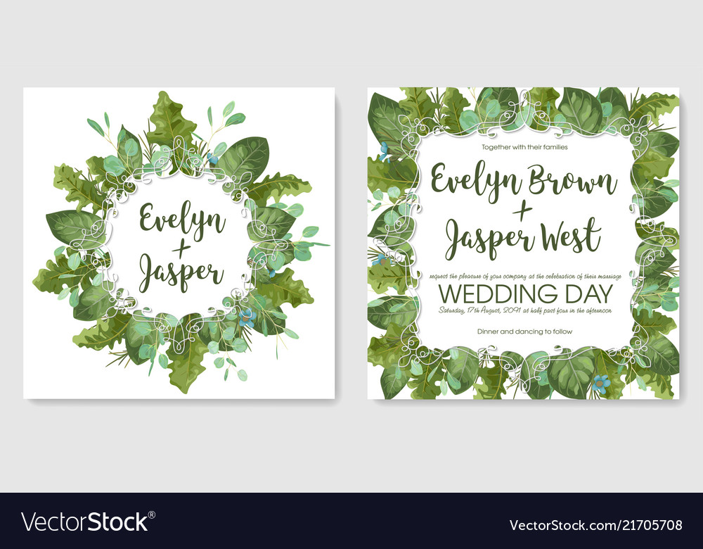Foliage watercolor set template of wedding
